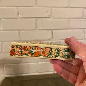 Vintage Wooden Hand Painted Trinket Box From Japan